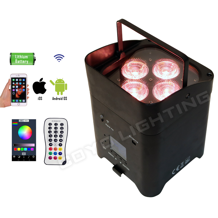 WB-S4 4x15W 6in1 Wifi Wireless Battery DJ LED Uplight