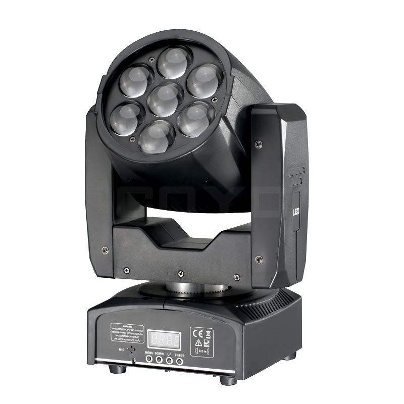 7x12W RGBW Mini LED Moving Head Wash Zoom MHW0712
